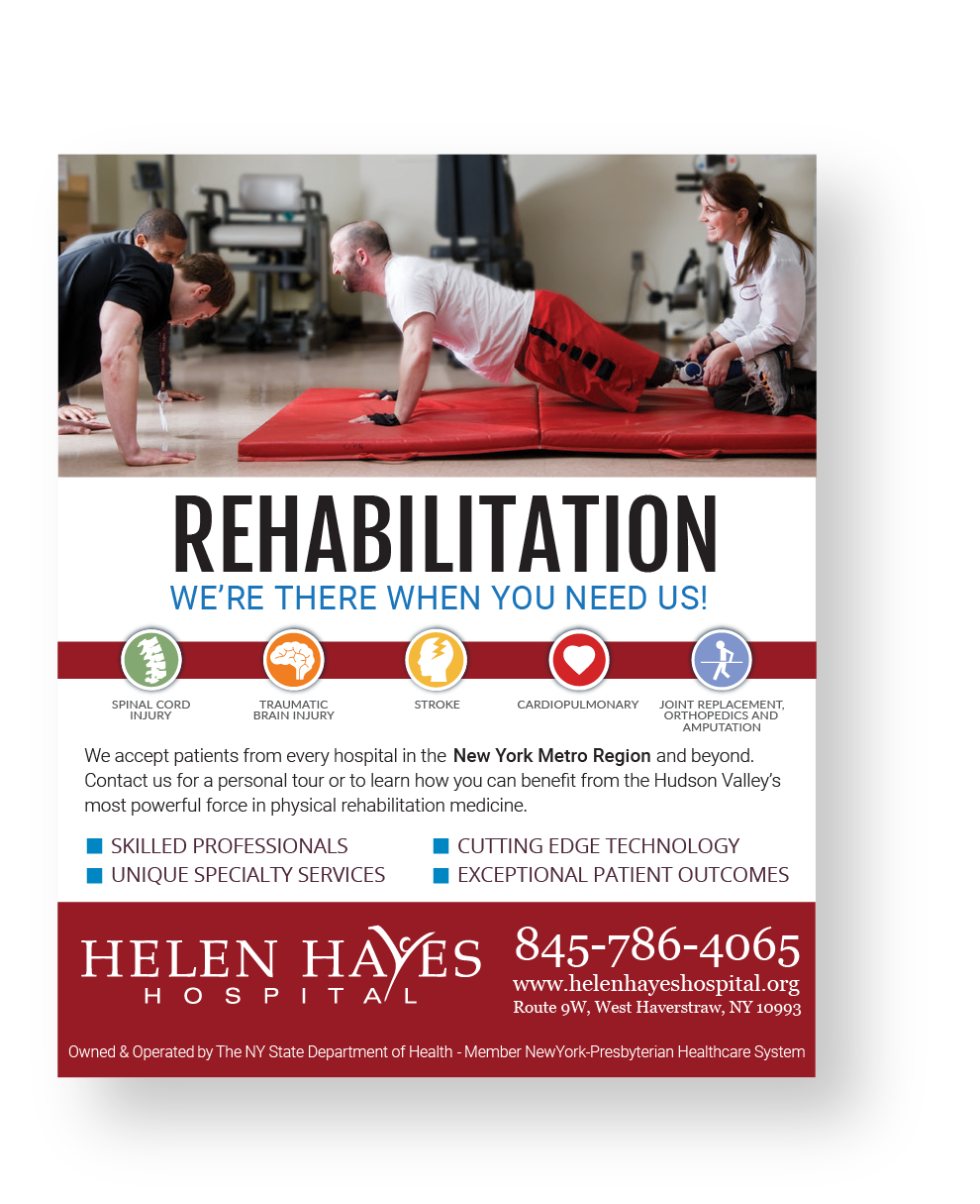 Helen Hayes Hospital rehabilitation advert