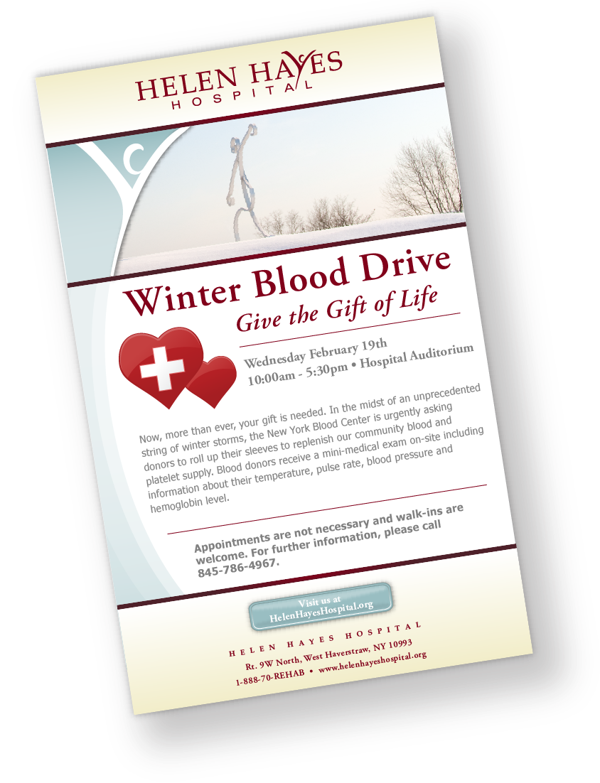Helen Hayes Hospital Blood Drive Flyer