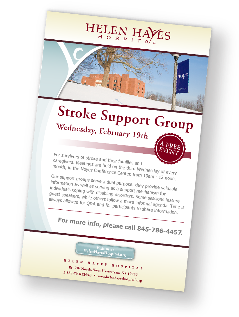 Helen Hayes Hospital stroke support group flyer